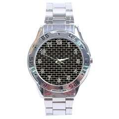 Brick1 Black Marble & Beige Linen Stainless Steel Analogue Watch by trendistuff