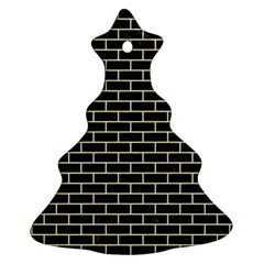 Brick1 Black Marble & Beige Linen Christmas Tree Ornament (two Sides) by trendistuff