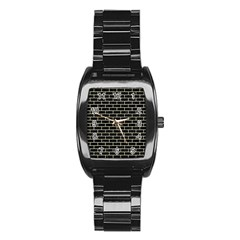 Brick1 Black Marble & Beige Linen Stainless Steel Barrel Watch by trendistuff