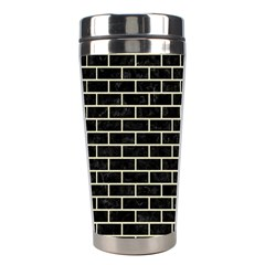 Brick1 Black Marble & Beige Linen Stainless Steel Travel Tumblers by trendistuff