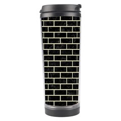 Brick1 Black Marble & Beige Linen Travel Tumbler by trendistuff
