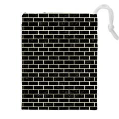 Brick1 Black Marble & Beige Linen Drawstring Pouches (xxl) by trendistuff