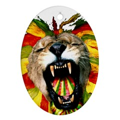 Reggae Lion Oval Ornament (two Sides) by BangZart