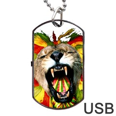 Reggae Lion Dog Tag Usb Flash (one Side) by BangZart