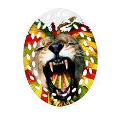 Reggae Lion Oval Filigree Ornament (two Sides)