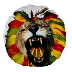Reggae Lion Large 18  Premium Round Cushions