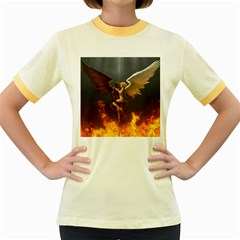 Angels Wings Curious Hell Heaven Women s Fitted Ringer T Shirts