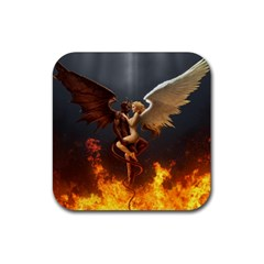 Angels Wings Curious Hell Heaven Rubber Square Coaster (4 Pack)  by BangZart