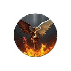 Angels Wings Curious Hell Heaven Magnet 3  (round) by BangZart