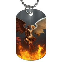 Angels Wings Curious Hell Heaven Dog Tag (two Sides)