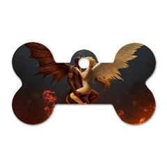 Angels Wings Curious Hell Heaven Dog Tag Bone (two Sides)