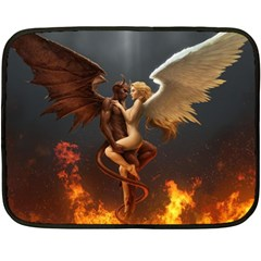 Angels Wings Curious Hell Heaven Fleece Blanket (mini) by BangZart