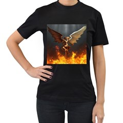 Angels Wings Curious Hell Heaven Women s T Shirt (black)