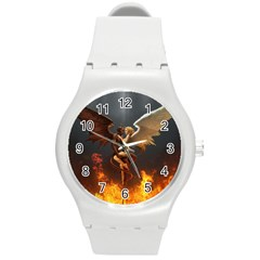 Angels Wings Curious Hell Heaven Round Plastic Sport Watch (m)