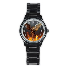 Angels Wings Curious Hell Heaven Stainless Steel Round Watch