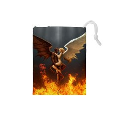 Angels Wings Curious Hell Heaven Drawstring Pouches (small)  by BangZart