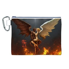 Angels Wings Curious Hell Heaven Canvas Cosmetic Bag (l) by BangZart