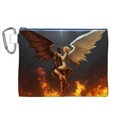 Angels Wings Curious Hell Heaven Canvas Cosmetic Bag (xl) by BangZart