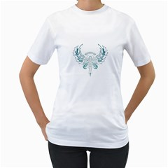 Angel Tribal Art Women s T Shirt (white) (two Sided)