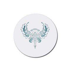 Angel Tribal Art Rubber Round Coaster (4 Pack)
