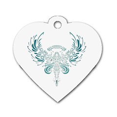 Angel Tribal Art Dog Tag Heart (two Sides)