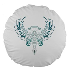 Angel Tribal Art Large 18  Premium Flano Round Cushions by BangZart