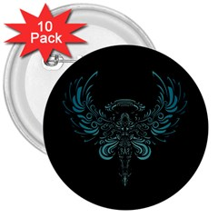 Angel Tribal Art 3  Buttons (10 Pack)  by BangZart