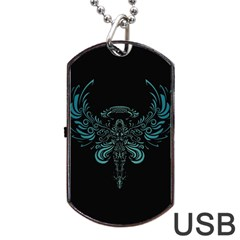 Angel Tribal Art Dog Tag Usb Flash (two Sides)