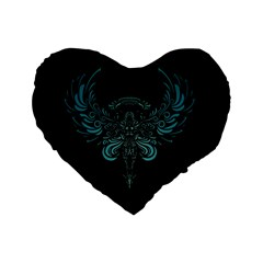 Angel Tribal Art Standard 16  Premium Flano Heart Shape Cushions by BangZart