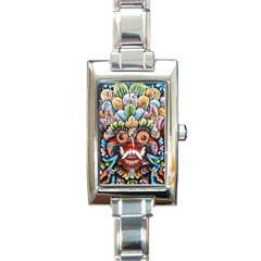 Wood Sculpture Bali Logo Rectangle Italian Charm Watch