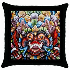 Wood Sculpture Bali Logo Throw Pillow Case (black) by BangZart