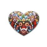 Wood Sculpture Bali Logo Rubber Coaster (Heart)  Front