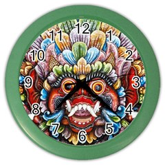Wood Sculpture Bali Logo Color Wall Clocks