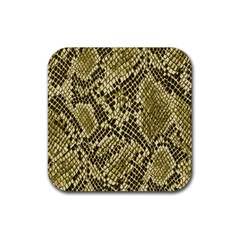 Yellow Snake Skin Pattern Rubber Coaster (square)