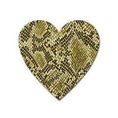 Yellow Snake Skin Pattern Heart Magnet by BangZart