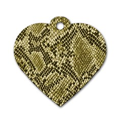 Yellow Snake Skin Pattern Dog Tag Heart (two Sides)