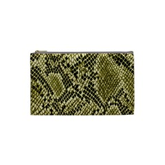 Yellow Snake Skin Pattern Cosmetic Bag (small)  by BangZart