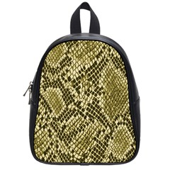 Yellow Snake Skin Pattern School Bags (small)  by BangZart
