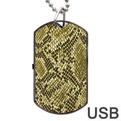Yellow Snake Skin Pattern Dog Tag Usb Flash (one Side) by BangZart