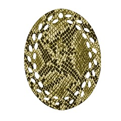 Yellow Snake Skin Pattern Oval Filigree Ornament (two Sides) by BangZart