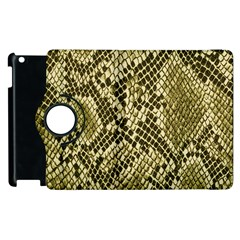 Yellow Snake Skin Pattern Apple Ipad 2 Flip 360 Case by BangZart