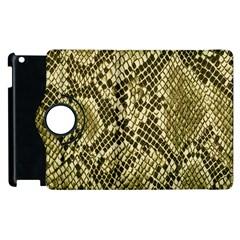 Yellow Snake Skin Pattern Apple Ipad 3/4 Flip 360 Case by BangZart