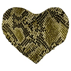Yellow Snake Skin Pattern Large 19  Premium Heart Shape Cushions
