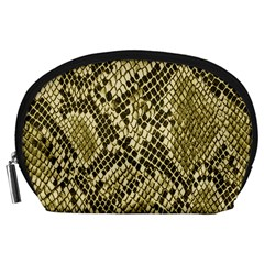 Yellow Snake Skin Pattern Accessory Pouches (large)  by BangZart