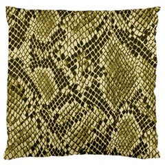Yellow Snake Skin Pattern Large Flano Cushion Case (two Sides)