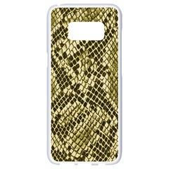Yellow Snake Skin Pattern Samsung Galaxy S8 White Seamless Case by BangZart