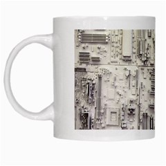 White Technology Circuit Board Electronic Computer White Mugs by BangZart