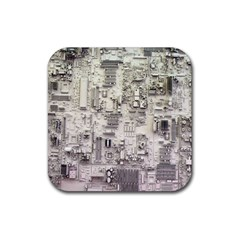 White Technology Circuit Board Electronic Computer Rubber Square Coaster (4 Pack)  by BangZart