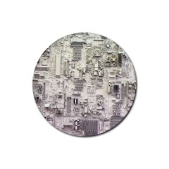 White Technology Circuit Board Electronic Computer Rubber Coaster (round)  by BangZart