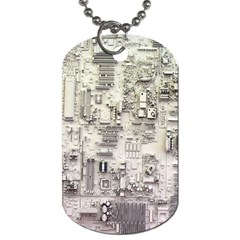 White Technology Circuit Board Electronic Computer Dog Tag (one Side) by BangZart